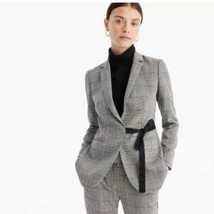 J. Crew tie-front blazer in lady glen plaid